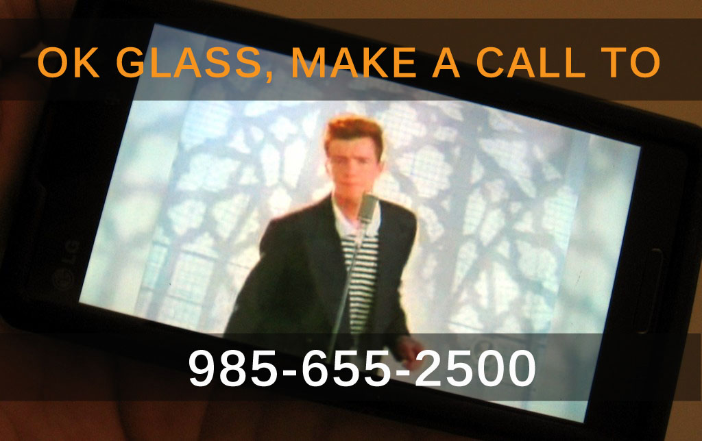 Rick Roll Google Glass with Voice Commands