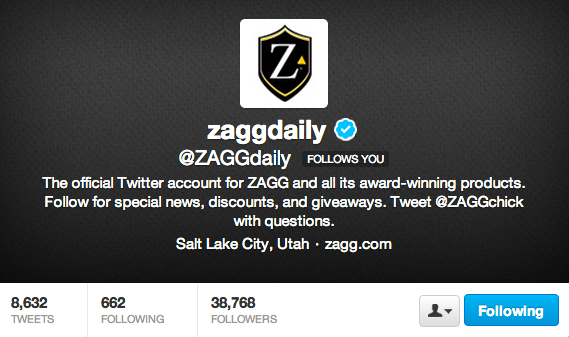 Follow ZAGG on Twitter!