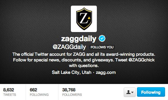 Follow ZAGG on Twitter!
