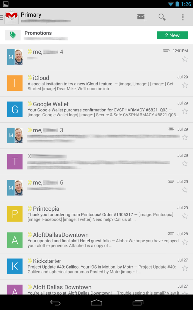 The Gmail app on the Nexus 7.