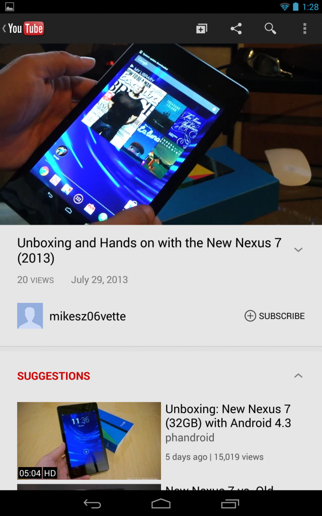 YouTube Android app on the Nexus 7.