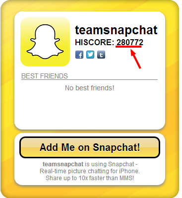 Snapchat's official website says that the score is a total number of ...