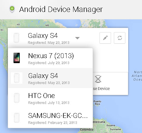 Android Device Manager - Select Your Device