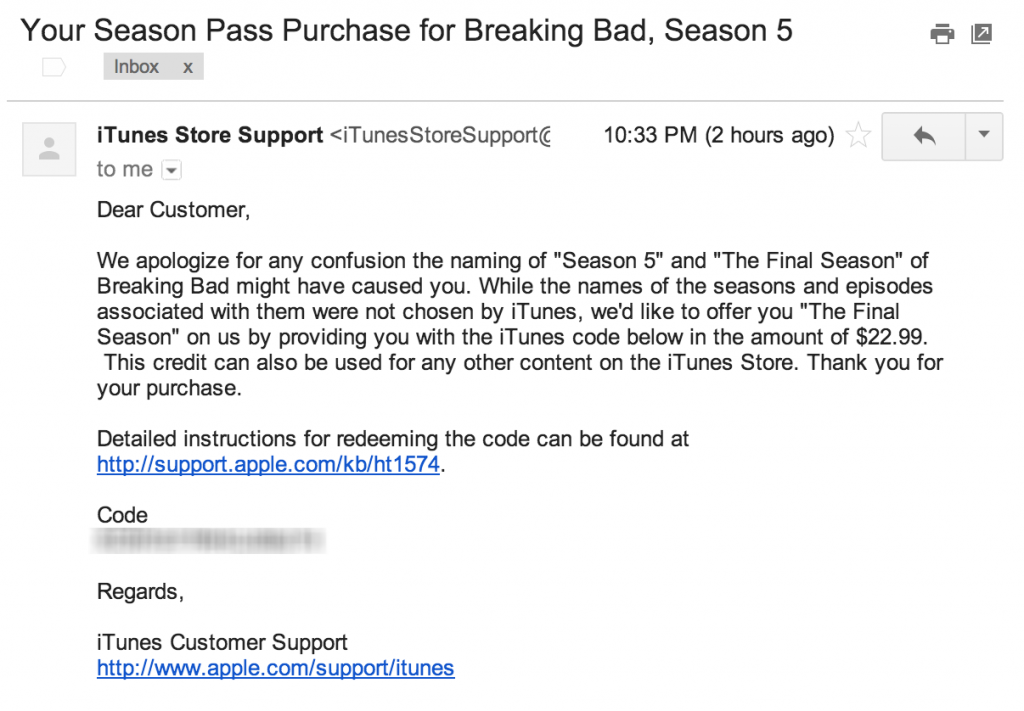 Apple Issues Refund for Breaking Bad Season Pass