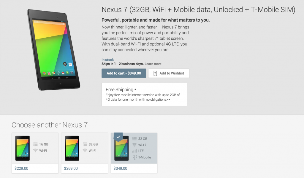 Nexus 7 LTE (T-Mobile) for $349