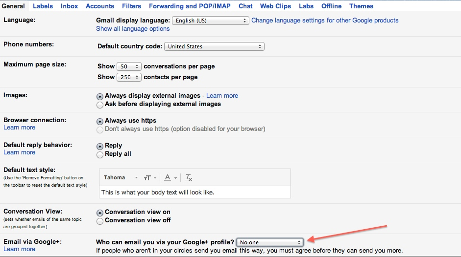 Google+ Emailing Options