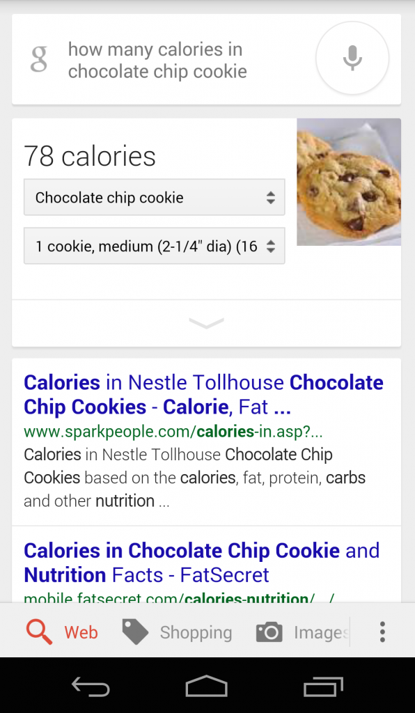 Google Now Cookie Calories